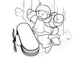 ぜんまいの人形とブリキの飛行機